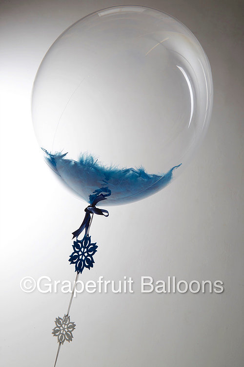 Blue Feather Filled Balloon