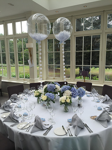 Christening Table Feather Balloons