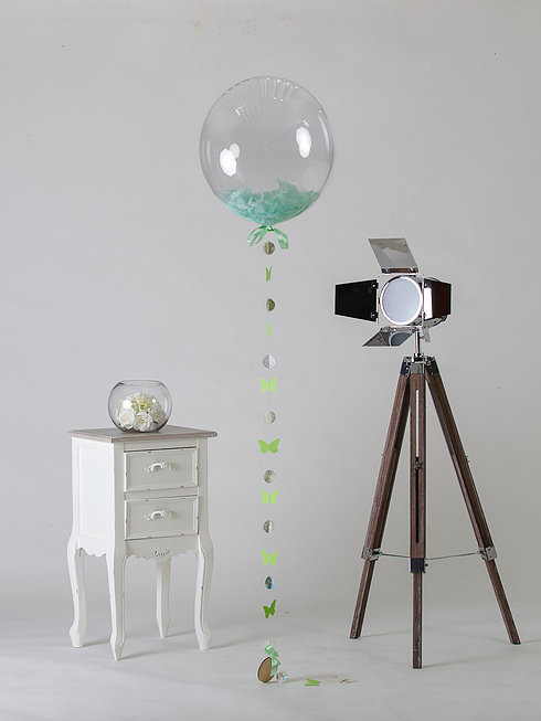 mint green feather filled balloon