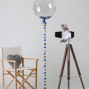blue confetti filled comic balloon