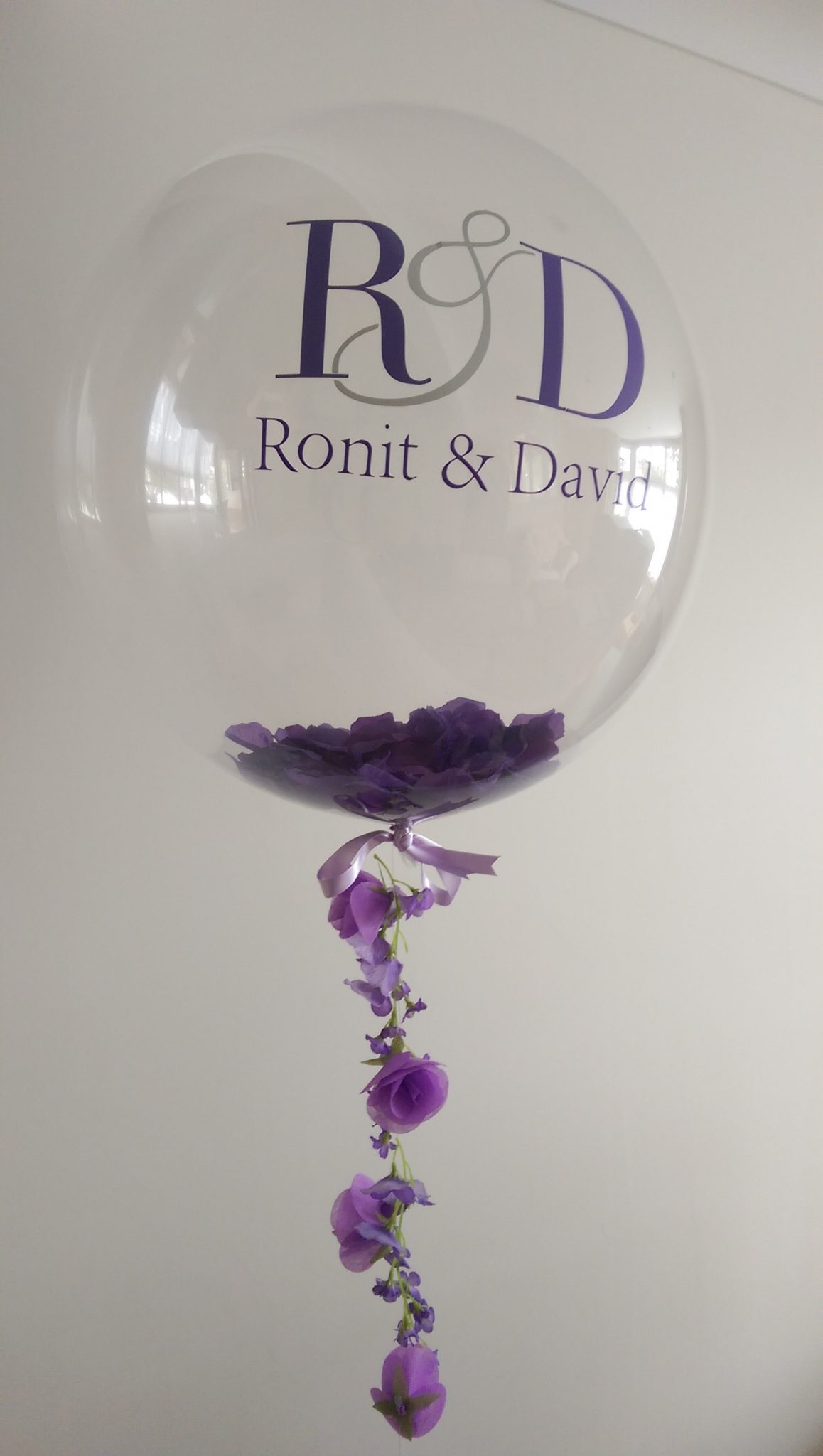 Elegant Purple personalised flower balloon