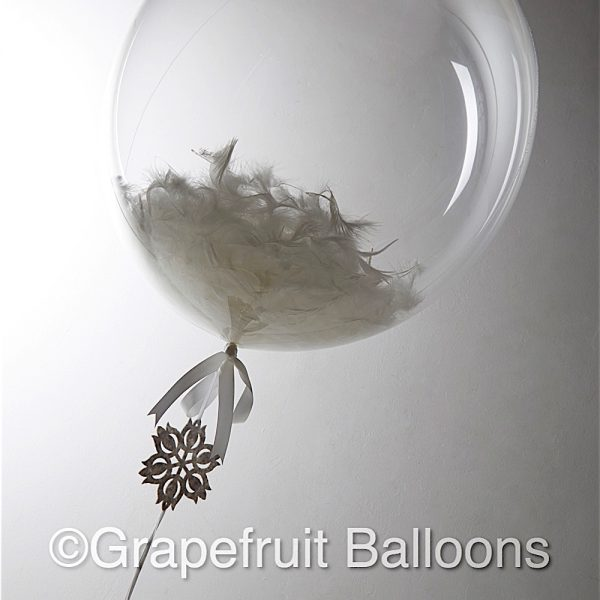 White and Grey Star Feather Filled Christening Balloon
