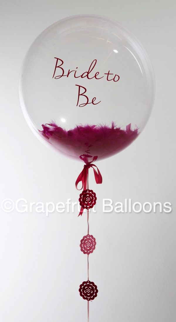 Personalised Pink Feather Filled Balloon for Weddings