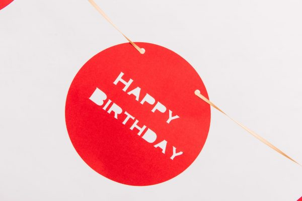 Red Circle Personalised Happy Birthday Banner