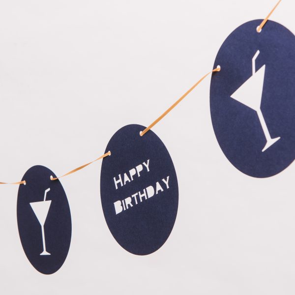 Cocktail Blue Round Birthday Banner