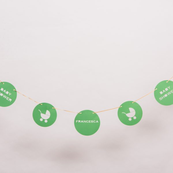 Green Pram Personalised Baby Shower Banner