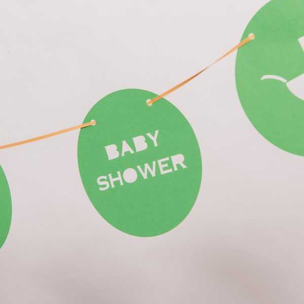 Green Baby Shower Pram Banner