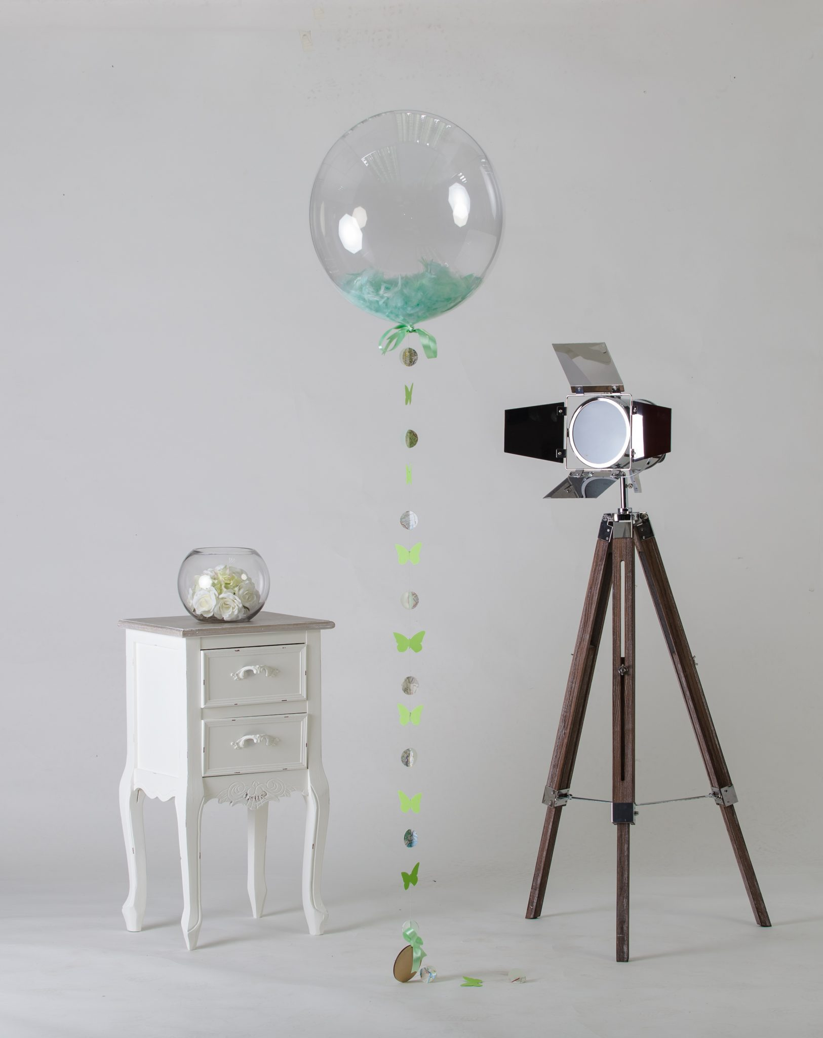 mont green filled clear balloon